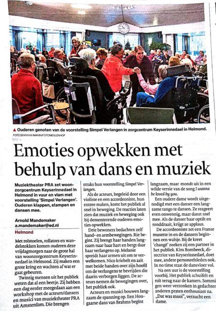 PRA muziektheater - Eindhovens Dagblad - impact ouderen